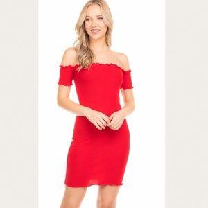 Off shoulder red mini bodycon dress